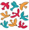 colorful doodle birds icon set vector image