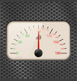 decibel meter on metal perforated background vector image