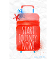 Watercolor red travel suitcase on crumpled paper vector image