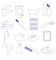 home bathroom theme outline icons set eps10 vector image