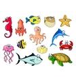 Cartoon sea animals for underwater wildlife design vector image vector image