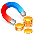 Magnet and coins vector image vector image