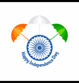 Independence Day greeting with tricolour umbrella vector image