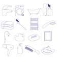 home bathroom theme outline icons set eps10 vector image
