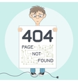 Page with 404 error for website Cartoon style vector image