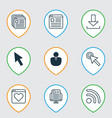 set of 9 web icons includes cursor tap website vector image