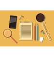 workplace working space writing instruments vector image