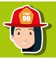 woman firewoman helmet icon vector image