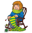 funny knitter women inthe chair vector image