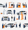 flat icons car repair service different workers vector image