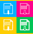 file download sign four styles of icon on four vector image