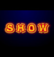 show light sign with lamps retro light bulb plate vector image