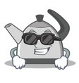 super cool kettle character cartoon style vector image
