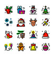 thin line christmas icons set vector image
