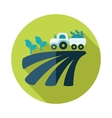 Tractor on field harvest seedling flat icon vector image
