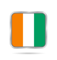 Flag of Ivory Coast Metallic gray square button vector image