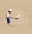 female african american chef cook holding frying vector image