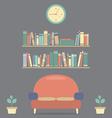 Modern Design Interior Sofa And Bookshelves vector image