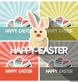 Easter Paper Flat Design Bunny on Retro Back vector image