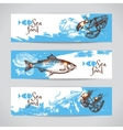 Hand drawn sketch seafood banners Sea vector image vector image