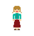 pixel people woman avatar theme vector image