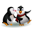young couple penguin cartoon vector image