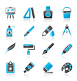 Art and painter icons vector image