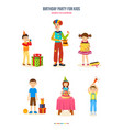 birthday party for kids gifts cake surprises vector image