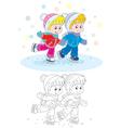 Children skating vector image