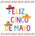 cinco de mayo card with sombrero hats vector image