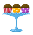 cupcake in a glass cake stand vector image