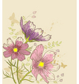 floral background with cosmos flowers vector image