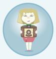 Girl with retro camera vector image