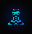man with a book blue icon vector image