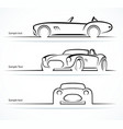 Set of vintage classic sports car silhouettes vector image