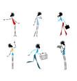 six modern girls vector image