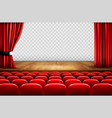 theater stage with wooden floor and open red vector image