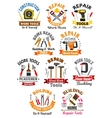 Work tools emblems set for repair construction vector image