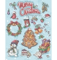 Festive set of elements to Merry Christmas vector image