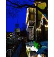 Digital painting of nightly city evening Kyiv Ukra vector image