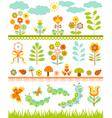 Set of floral border vector image