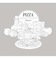 Pizza Ingredients Vintage Sketch vector image