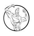 Bodybuilder from the front double biceps vector image