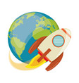 earth world with rocket flying vector image