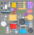 kitchen tools cookware and kitchenware flat icons vector image