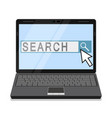 notebook with search field on the screen vector image