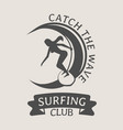 surfing club logo or symbol design with woman vector image