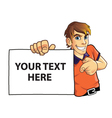 Young Man Holding Board vector image