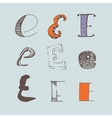 set of colorful alphabet letters E vector image
