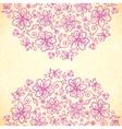Pink doodle vintage flowers circles background vector image